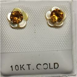 10K YELLOW GOLD 2 CITRINE(0.3CT)  EARRINGS