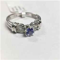 SILVER TANZANITE(0.4CT) RING, MADE IN CANADA