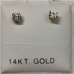 14K YELLOW GOLD 2 DIAMOND(0.2CT)  EARRINGS