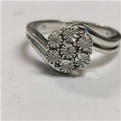 SILVER 7 DIAMOND  RING, MADE IN CANADA