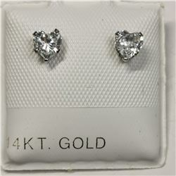14K WHITE GOLD CUBIC ZIRCONIA 10KT SCREWBACK