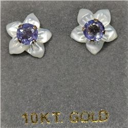 10K YELLOW GOLD 2 TANZANITE(0.46CT)  EARRINGS