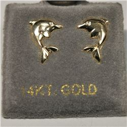 14K YELLOW GOLD  EARRINGS, MADE IN CANADA
