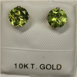 10K WHITE GOLD 2 PERIDOT(1.3CT)  EARRINGS