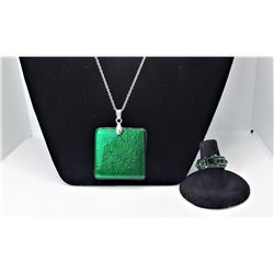 11)  EMERALD GREEN WITH BLACK BACK SQUARE