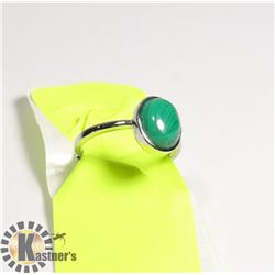 NATURAL STONE MALACHITE WHITE METAL RING FOR WOMEN