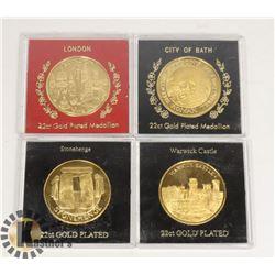 SET OF 4 MEDALLIONS 22KT GOLD
