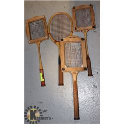 LOT OF 1920'S BADMINTON RACQUETS AND