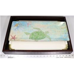 3  SERVING TRAYS INC JAPAN TURTLE,  WOOD VERSION