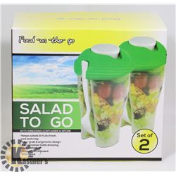 NEW 2 PACK SALAD TO GO TRAVEL SALAD CONTAINERS