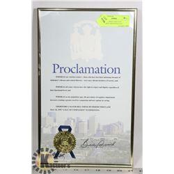 ORIGINAL PROCLAMATION DOCUMENT SIGNED/SEALED