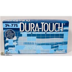 BOX OF ANSELL DURA-TOUCH POWDERED VINYL GLOVES