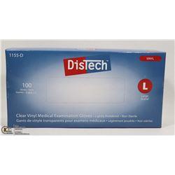 DISTECH CLEAR VINYL MEDIAL EXAMINATION GLOVES