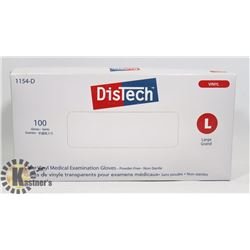 BOX OF 100 SIZE LARGE DISTECH CLEAR VINYL MEDICAL