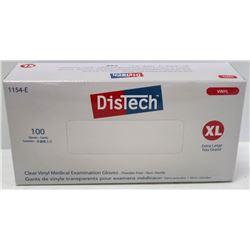 BOX OF 100 SIZE XLARGE DISTECH CLEAR VINYL MEDICAL