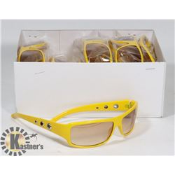 BOX OF YELLOW DESIGNER SUNGLASSES UV400 PROTECTION