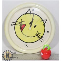 1979 HELLO KITTY CLOCK W/VINTAGE HAPPYMEAL TOY