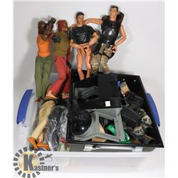 "6 VINTAGE 12"" 80S GI JOES WITH GUNS, CLOTHES,"