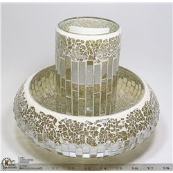 "ORNATE CENTER PIECE CANDLE HOLDER 9"" TALL X 10"" W"