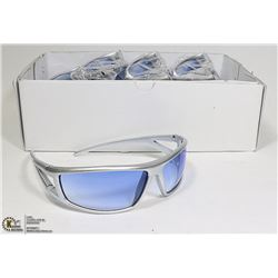 BOX OF DESIGNER SUNGLASSES - SILVER WITH BLUE LENS