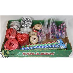 FLAT OF CRAFTING SUPPLIES INCLUDING RIBBON