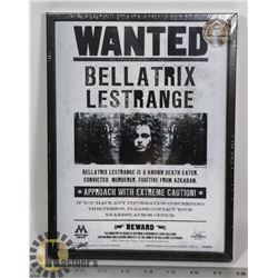 FRAMED BELLATRIX LESTRANGE WANTED POSTER