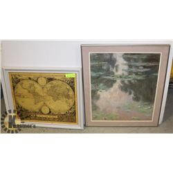 LOT OF 2 FRAMED LITHOGRAPHS - PICTURES
