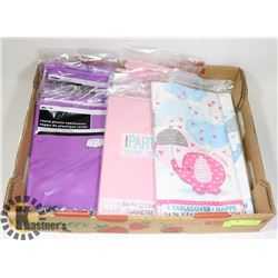 FLAT OF ASSORTED TABLE COVERS
