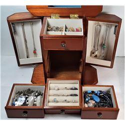 1)  RED MAHOGANY JEWELRY BOX AND