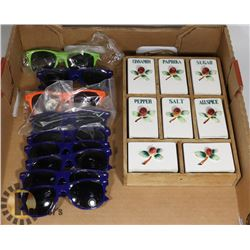 9 PAIRS OF NEW SUNGLASS & A SPICE RACK 7 X 10