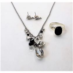 14)  SILVER TONE CLEAR AND BLACK CRYSTAL