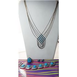 21)  SUITE OF SILVER TONE AND TURQUOISE