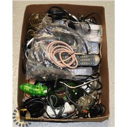 BOX OF ELECTRICAL CORDS CONTROLLERS AND TONS MORE