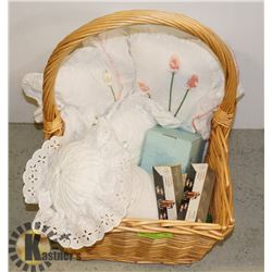 BASKET CONTAINS;  NEW PARTY LITE VOTIVE HOLDER,