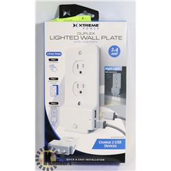NEW LED LIGHTED WALL PLATE WITH 2 USB PORTS