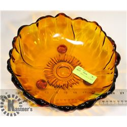 VINTAGE AMBER GLASS ART BOWL FOOTED
