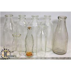 LOT OF 7  GLASS BOTTLES - MILK/COKE/MISC