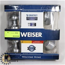 NEW WEIZER KEYED ENTRY DOOR HANDLE AND DEADBOLT