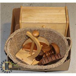 LARGE BOX OF WOOD & WICKER