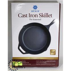 "NEW PROFESSIONAL 12.5"" CAST IRON SKILLET"