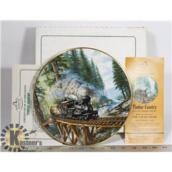 """RAIL """"TIMBER COUNTRY"""" PLATE 22K ONLY 15,000 MADE"""