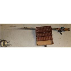 3 ADULT FISHING RODS WITH ADVENTURER FISHING BOX