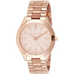 NEW MICHAEL KORS ROSE-GOLD MK LOGO DIAL MSRP $349