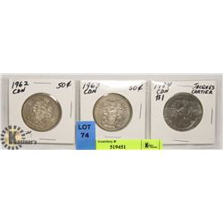 SET OF 3 COINS 2 - .50 CENT 1962, 1963 AND