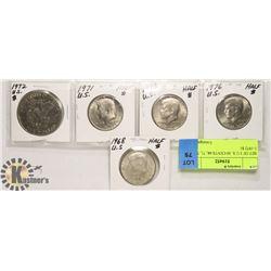 SET OF 5 U.S. 50 CENTS 68, 71, 73, 76 & 1-1972 $1