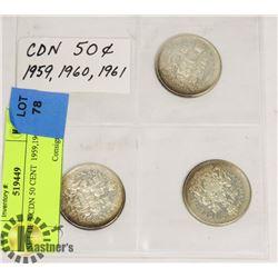 SET OF 3 CDN 50 CENT  1959,1960,1961