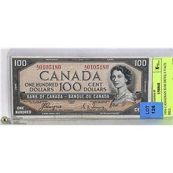 1954 CANADIAN $100 DEVILS FACE BILL