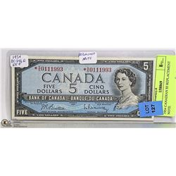 1954 CANADIAN $5 REPLACEMENT NOTE