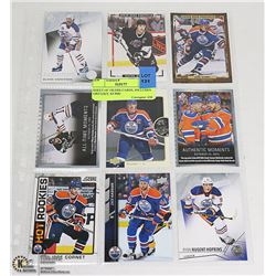 SHEET OF OILERS CARDS, INCLUDES GRETZKY, KURRI