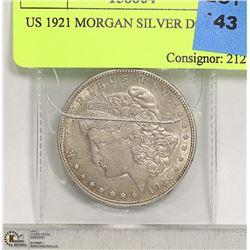 US 1921 MORGAN SILVER DOLLAR